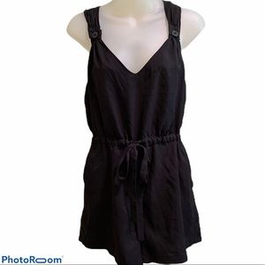 Johnny Martin Black TieWaist Button Overall Romper